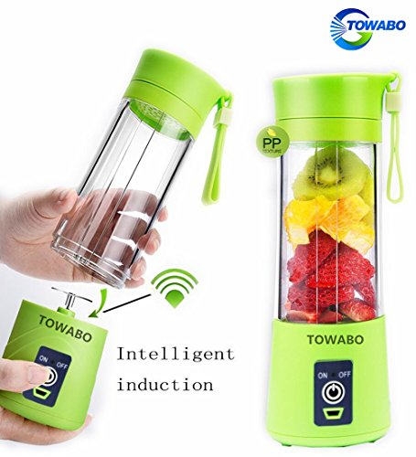 TOWABO USB Juicer Cup, Fruit Mixing Machine, Portable Personal Size Eletric Rechargeable Mixer, Blender, Water Bottle 380ml with USB Charger Cable Portable Juice Blender and Mixer (Rechargeable Blender Portable)