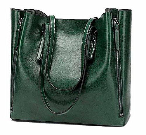 Casuale Moda Secchio cerniere a Donna Borse tracolla Verde Luccichio VogueZone009 Eqaw6HxTT
