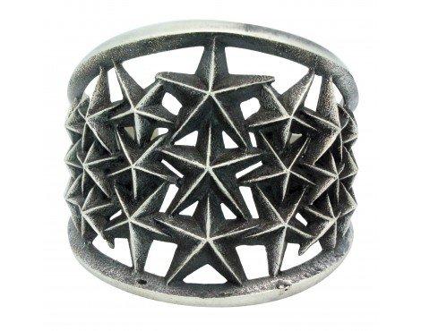 Aaron Anderson, Bracelet, Star Design, Sterling Silver, Navajo Handmade, 6.25 in ()