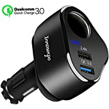 Car Charger, Innosinpo 12/24V 4.8A Quick Charge 3.0 Dual USB Car Charger with Cigarette Lighter Socket for iPhone X/8/7/7 Plus/iPad Pro/Andriod/Galaxy S8, Tablets and More