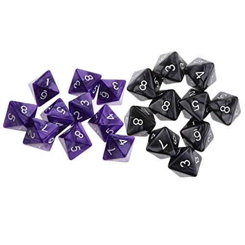 (Baoblaze 20pcs 8 Sided D8 Dies for Casino Poker Card Dices Blackjack Guessing Game)