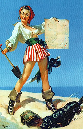 Pirate Map Pin Up Girl Elvgren Art Print - 8 in x 10 in - Matted to 11 in x 14 in - Mat Colors Vary -