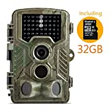 "Trail Camera, Coolife 12MP 1080P HD Digital Camera 46 LEDs for Night 2.4"" LCD Display Waterproof Hunting Wildlife Camera with Infrared 120°Wide Angle Scouting Surveillance Camera with 32G SD Card"