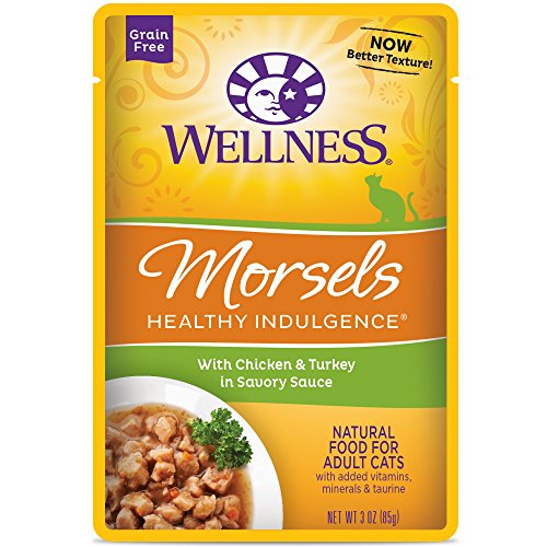 Wellness Healthy Indulgence Natural Grain Free Wet Cat Food, Morsels Chicken Turkey, 3-Ounce Pouch Pack of 24