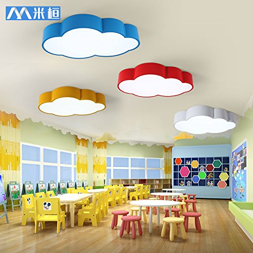 BGmdjcf Color clouds personality of children both boys and girls light led bedroom lighting kindergarten cartoon rooms ceiling lamps ,62CM- -36W blue