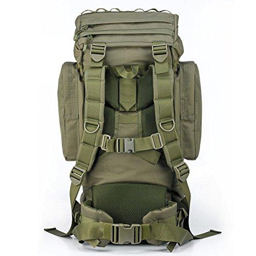 YAKEDA®Bolsos del alpinismo al aire libre tácticos hombros mochila bolsas de hombres y mujeres bolsa impermeable de gran capacidad de camuflaje mochila marco interno paquete 65L - 11 (negro) verde