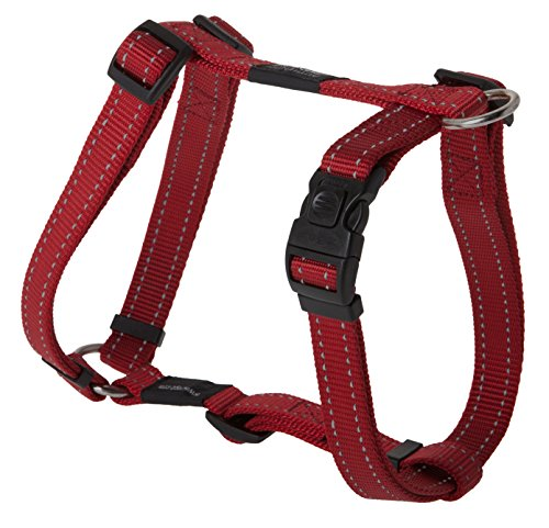 Reflective Adjustable Dog H Harness for Extra Large Dogs; matching collar and leash available, Red