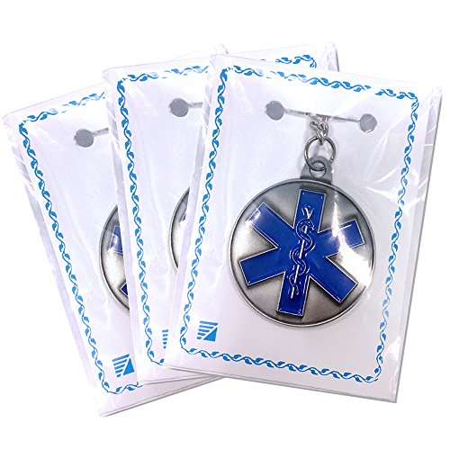 Pewter Awards - Star of Life, EMT, EMS Antique Pewter Finished with Split Keyring and Chain - Pack of 3