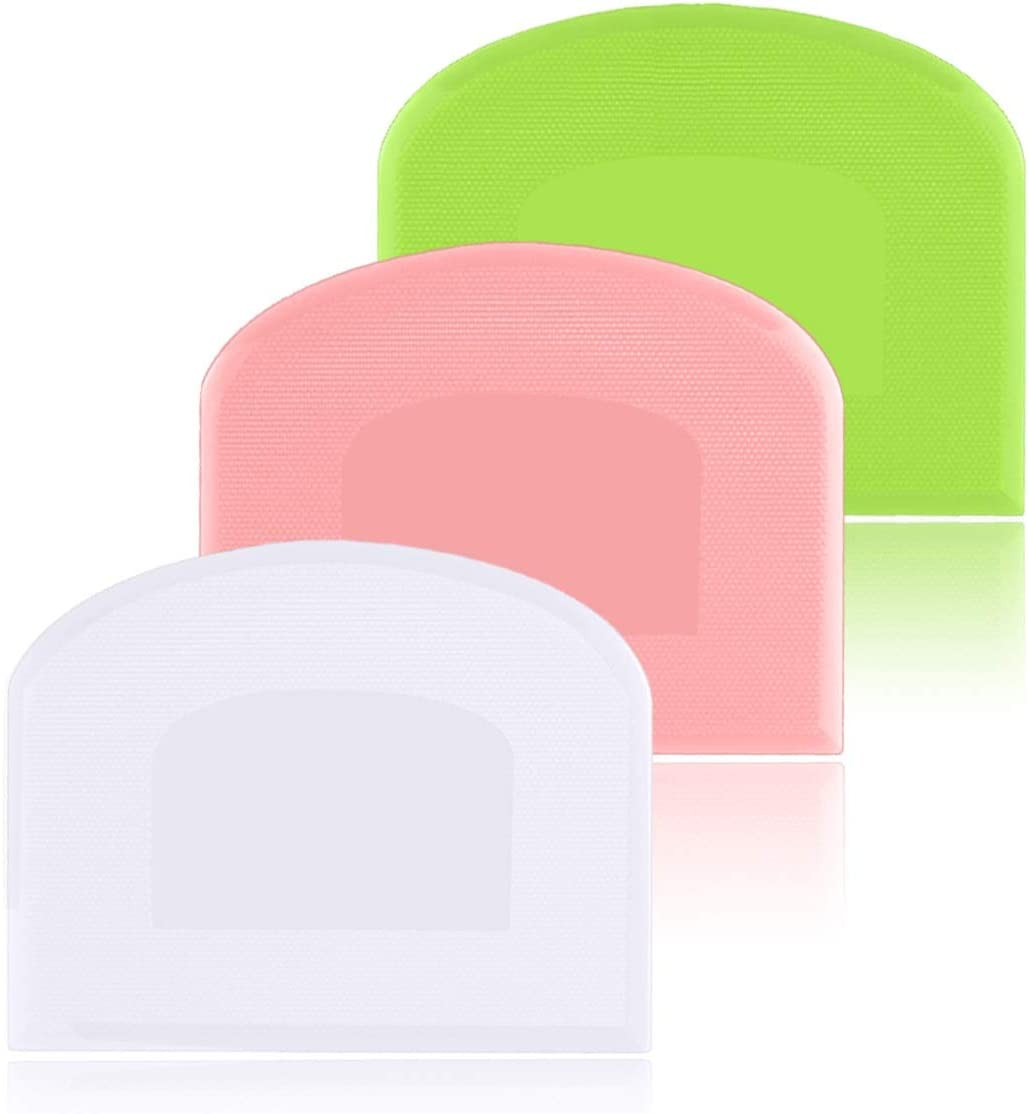 DOERDO 3Pieces Dough Scraper Bowl Scraper Food-safe Plastic Dough Cutter,Multipurpose Food Scrappers for Bread Dough Cake Fondant Icing,White,Green,Pink