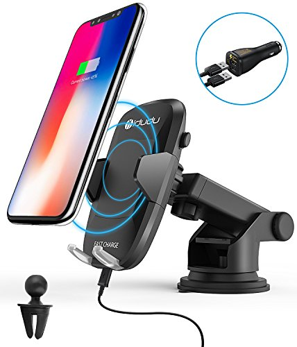 Wireless Car Charger, iDudu Dashboard & Windshield Qi Wireless Charger Car Mount Holder for iPhone X/8/8 Plus and Fast Wireless Charging for Samsung Galaxy S9 S9 Plus S8 Plus S8 S7 Edge Note 8 Note 5 by idudu