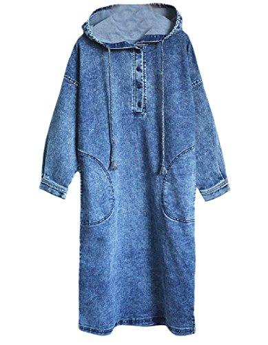 Women Plus Comfy Mid Denim Pullover Blue Hooded Tops Dress Size Long Tpqqdwx