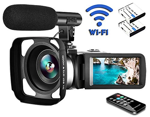 Video Camera Camcorder with Microphone, 2.7K Ultra HD 30FPS 24.0MP Wifi IR Night Vision 16X Digital Zoom YouTube Camera Recorder 3.0″ LCD Touch Screen Vlogging Camera