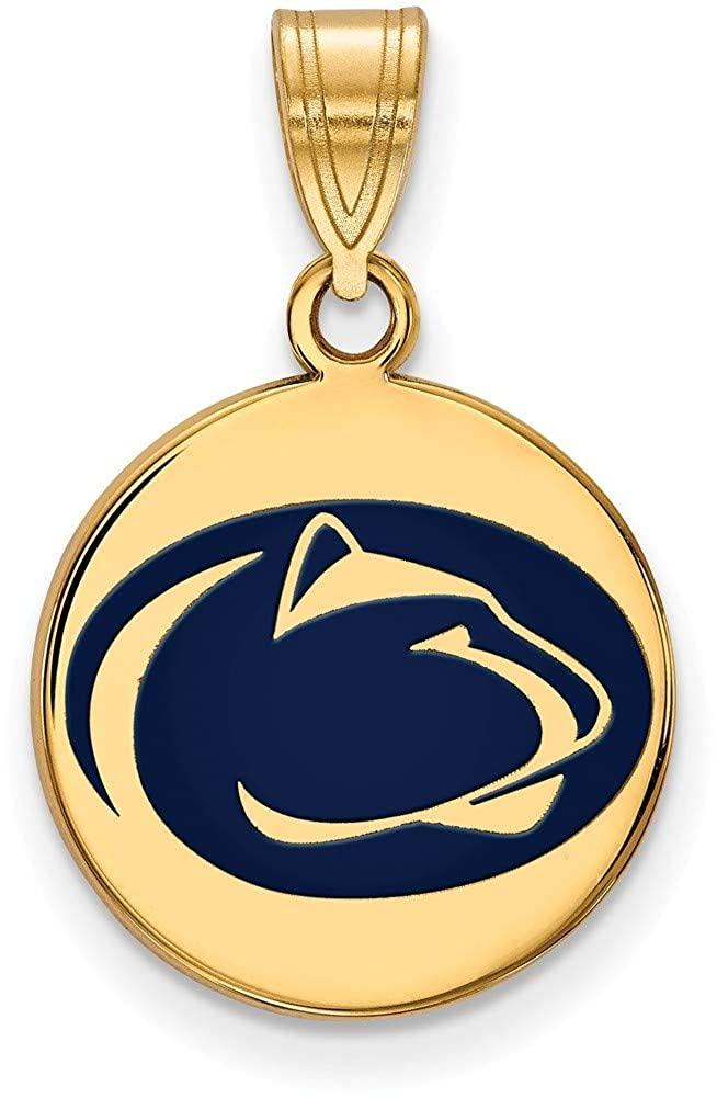 Gold-Plated Sterling Silver Penn State U Medium Disc Pendant by LogoArt GP035PSU