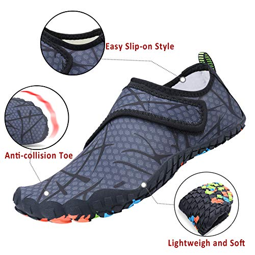Mens Womens Water Sports Shoes Quick-Dry Lightweight Barefoot Wide Feet Toe Solid Drainage Sole for Swim Diving Surf Aqua Pool Beach Jogging Trip by PENGCHENG (Image #2)