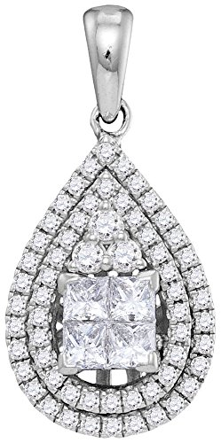 14kt White Gold Womens Princess Diamond Teardrop Cluster Pendant 1.00 Cttw (I1-I2 clarity; H-I color) (Drop 14kt Cluster Necklace Gold)
