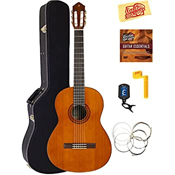 Yamaha CGS104A Full-Size Classical Guitar Bundle with Hardshell Case, Tuner, Instructional DVD, Strings, Pick Card, and Polishing Cloth - Natural 4/4-Size Classical