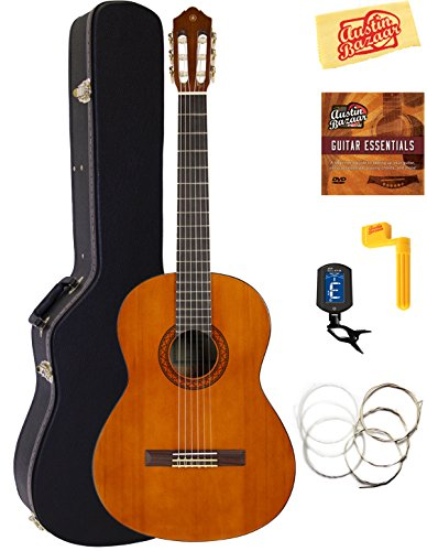 - Yamaha CGS104A Full-Size Classical Guitar Bundle with Hard Case, Tuner, Instructional DVD, Strings, and Polishing Cloth - Natural