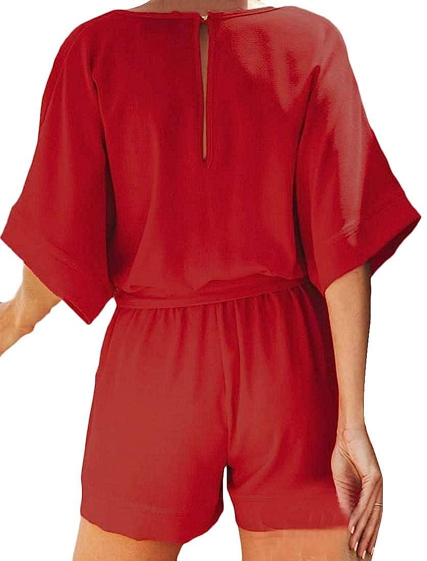 Joe Wenko Women V-Neck Half Sleeve Pocket Belt Beach Short Rompers Jumpsuits