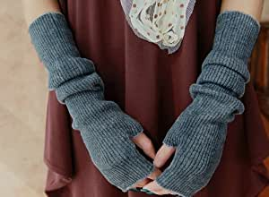 1 X Cookids Unique Hop Women Stretchy Long Arm Cashmere Wool Sleeve Fingerless Gloves Novel Trendy Hip Fashion Gift for Christmas(gray)