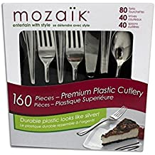 MOZAIK Premium Plastic Cutlery Set - 160 Pieces - Utensils Feature Elegant, Stainless Steel Finish on Heavy Weight Plastic