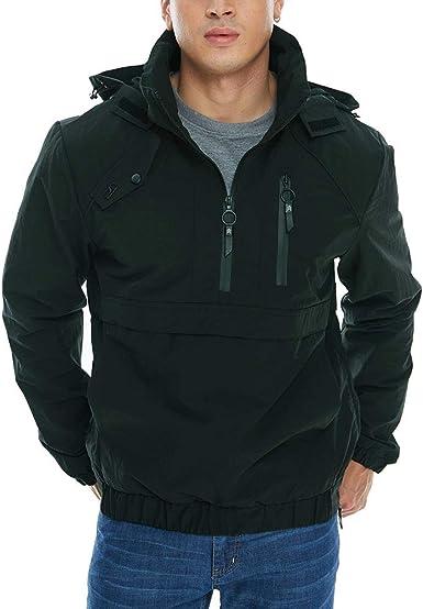 Quartly Mens Winter Waterproof Hoodie Jacket Long Hooded Outwear Warm Zipper Pocket Coat