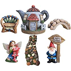 LA JOLIE MUSE Fairy Garden Accessories Kit 6pcs, Gnome&Fairies Statues, Hand Painted Miniature Figurines House Set