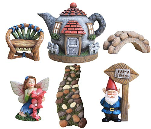 Fairy Garden Set (LA JOLIE MUSE Fairy Garden Gnome House Accessories Kit- Hand Painted Miniature Figurine Set of 6 pcs for Girls, Boys, Adults, Gardening Decor Indoor & Outdoor Gifts)