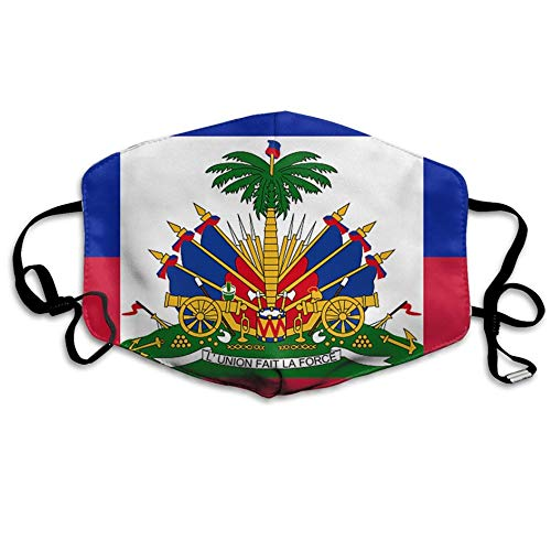 casually Flag of Haiti Mouth Mask Unisex Dust Protecting Mask Reusable Mask for Men and Women