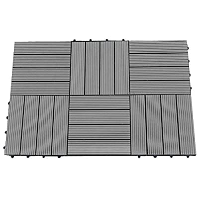 Abba Patio Outdoor Living 12 x 12 Inch Composite Interlocking Decking Tile with Parallel Design- 6 pack
