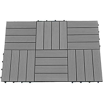 Bare Decor EZFloor Interlocking Flooring Tiles In Solid Teak Wood - Roll out patio flooring