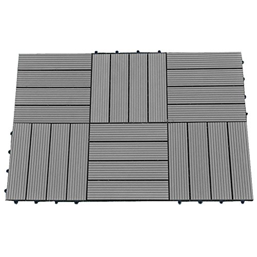 Abba Patio 12 x 12 Inch Outdoor Four Slat Wood-Plastic Composite Interlocking Decking Tile, 6 Pieces One Pack, Dark Grey (Patio Rubber Stone Square)