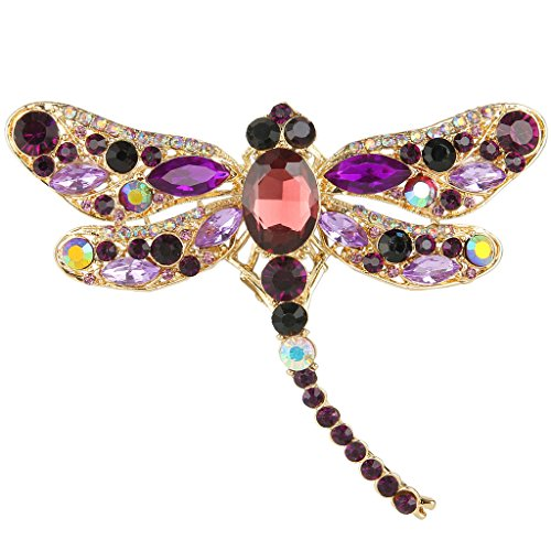 EVER FAITH Dragonfly Gold-Tone Teardrop Brooch Pin Purple Austrian Crystal