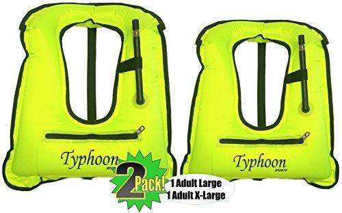 el Vests - Hi-Viz, Pockets, Locking Inflator Valve - 1 Adult 80-180lbs, 1 Adult XL 180lbs+ (Junior Snorkeling Vest)
