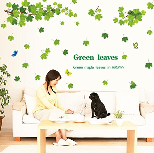 Bibitime Tree Branch Wall Art Quotes Green Maple Leaves In Autumn Butterfly Decal Sticker For Living Room Tv Background Pvc Decorations Home Art Mural Nursery Kids Room Decor
