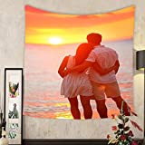 Jacquelyn A. Velasquez Custom tapestry honeymoon couple romantic in love at beach sunset newlywed happy young couple hugging enjoying