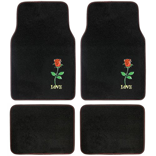BDK Red Rose Love 4 Piece Front and Rear Carpet Car Auto Floor Mats (Mat Rear Red)