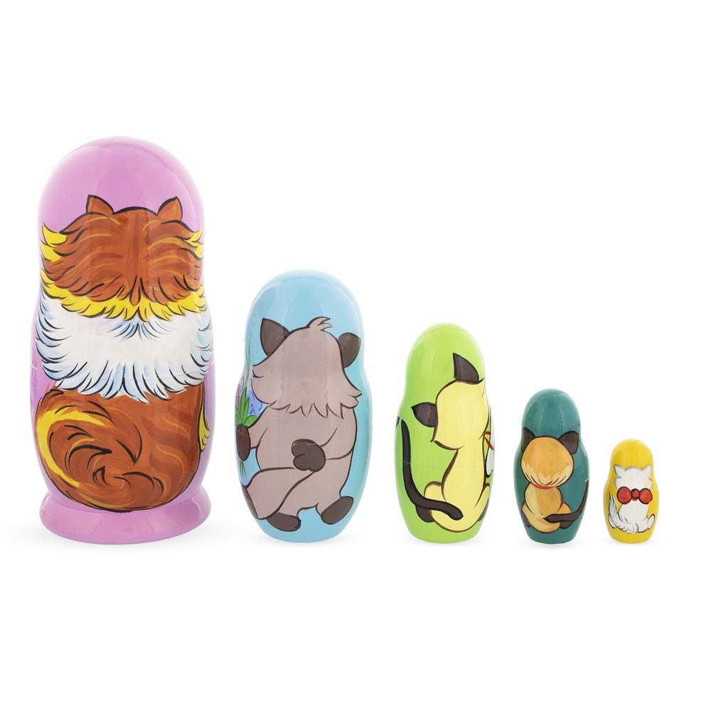 BestPysanky Set of 5 Colorful Cats Wooden Nesting Dolls by BestPysanky (Image #3)