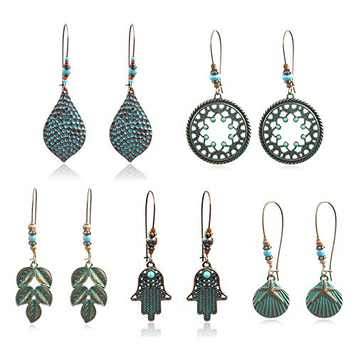 (COMMINY 5 Pairs Bohemian Vintage Dangle Drop Earrings, Metal Leaf Waterdrop Shape Hollow Pendant Earrings Set Boho Chic Jewelry for Women Girls)