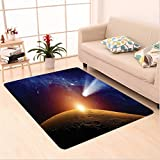 Nalahome Custom carpet or Comet Tail Approaching Planet Mars Fantastic Star Cosmos Dark Solar System Scenery Bue Orange area rugs for Living Dining Room Bedroom Hallway Office Carpet (2' X 10')