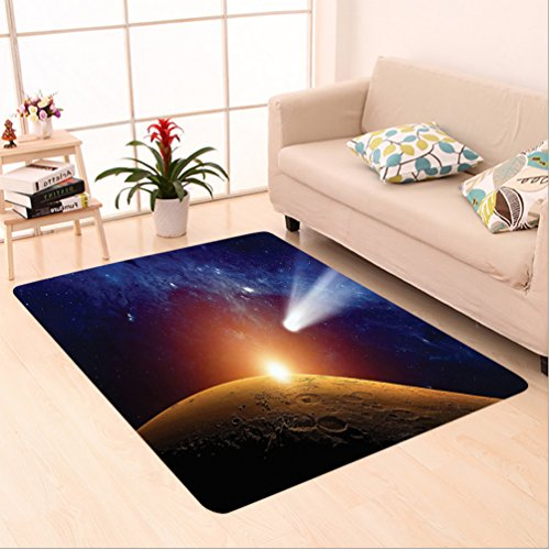 Nalahome Custom carpet or Comet Tail Approaching Planet Mars Fantastic Star Cosmos Dark Solar System Scenery Bue Orange area rugs for Living Dining Room Bedroom Hallway Office Carpet (2' X 10') by Nalahome
