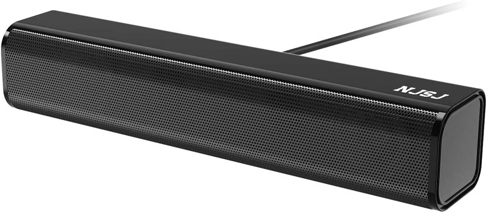 NJSJ Computer Sound Bar Speaker,USB Powered Wired Stereo Speakers with 3.5mm Aux Input ,Mini Soundbar for PC /Tablets/ Desktop / Laptop/Cellphones- Black