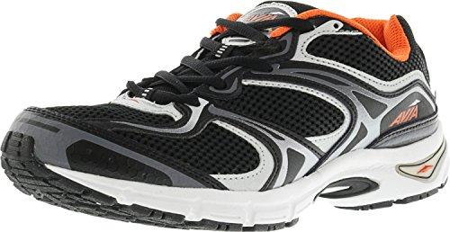 AVIA Men's Endeavour Running/Training Shoe, Black/Chrome Silver/Signal Orange, 7 M US