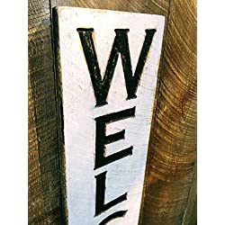 "Large Vertical Welcome Sign 48""t x 10""w- Carved in a Cypress Board Rustic Distressed Kitchen Farmhouse Style Restaurant Cafe Wooden Wood Wall Art Decoration"