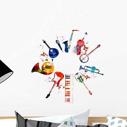 Colorful Musical Instruments Wall Decal by Wallmonkeys Peel and Stick Graphic (18 in H x 18 in W) WM364784