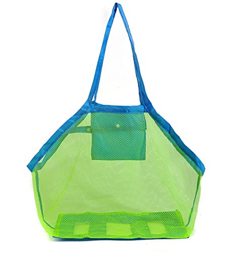 Toy Bag,Govine Beach Toys,Shell Bag,Lego Bricks, Mesh Tote To Declutter Perfect for Holding Childrens' Toys (Blue) Brick Mesh