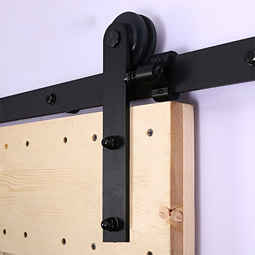 (CCJH 7FT Heavy Duty Sliding Barn Wood Door Hardware Kit - Smoothly and Stable - Easy Installation - Fit 42