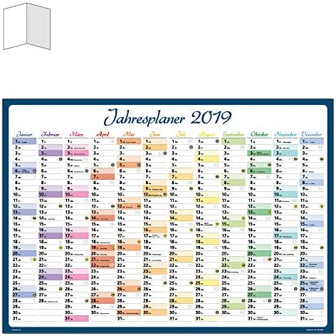 DIN A1 Jahresplaner Wandplaner Wandkalender 2019 gefalzt Wandkalender 2019 / Wandplaner 2019 Posterkalender Jahresplaner Kalender Jahresübersicht