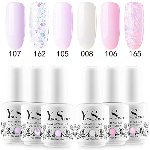 YaoShun Gel Nail Polish Set - Pink & Glitters Series 6 Colors Nail Art Gift Box, Soak Off Nail Gel UV LED Gel Polish Kit 8ml # 01