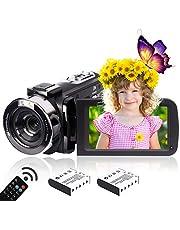 Heegomn 2.7K HD digitale camcorder voor jongeren/leerlingen/kinderen, 2688 x 1520P videocamera beginners voor YouTube Vlogging
