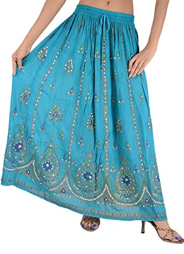 SNS Sequin Long Maxi Elastic Skirt,Blue,One Size